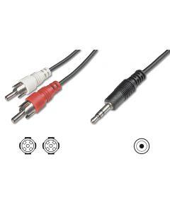 CABLE DIGITUS ADAPTADOR AUDIO JACK 3.5mm - 2x RCA 1,5m CCS 2x0,10/10 M/M